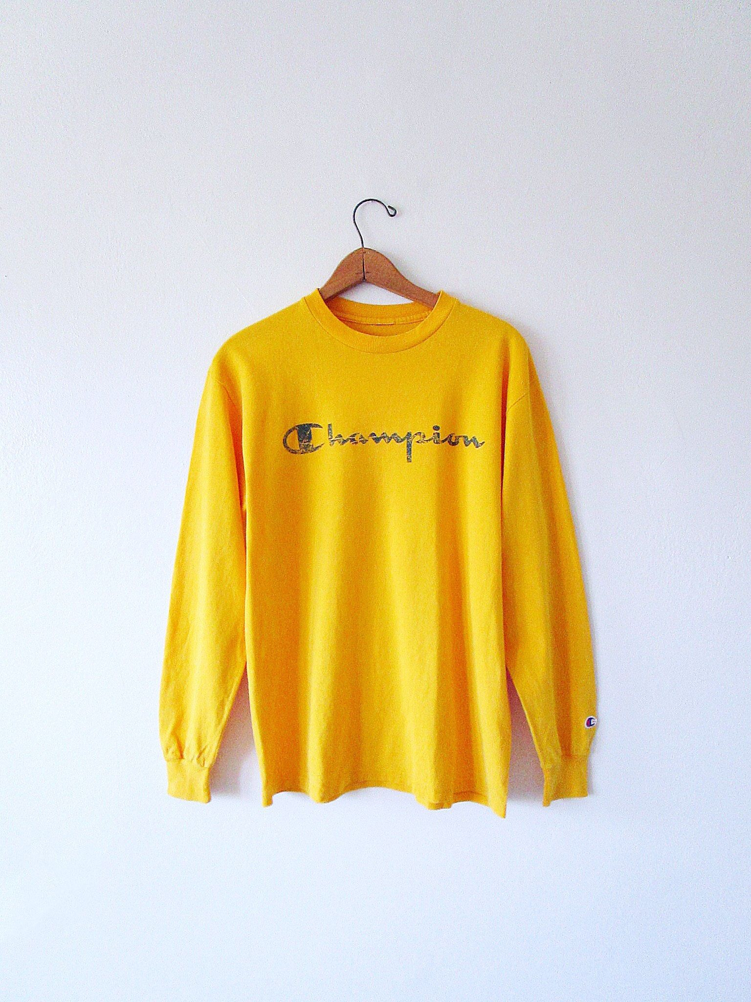 8b1c3a3c6a16 #Vintage #90s #CHAMPION #Retro #MUSTARD #Yellow Embroidered #Sportswear Long
