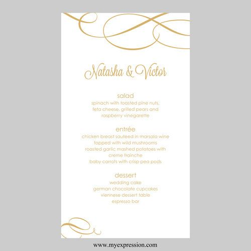 Wedding Menu Card Template  Calligraphic Flourish Gold