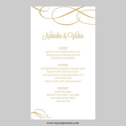 Wedding Menu Card Template u2013 Calligraphic Flourish (Gold - ms word menu template