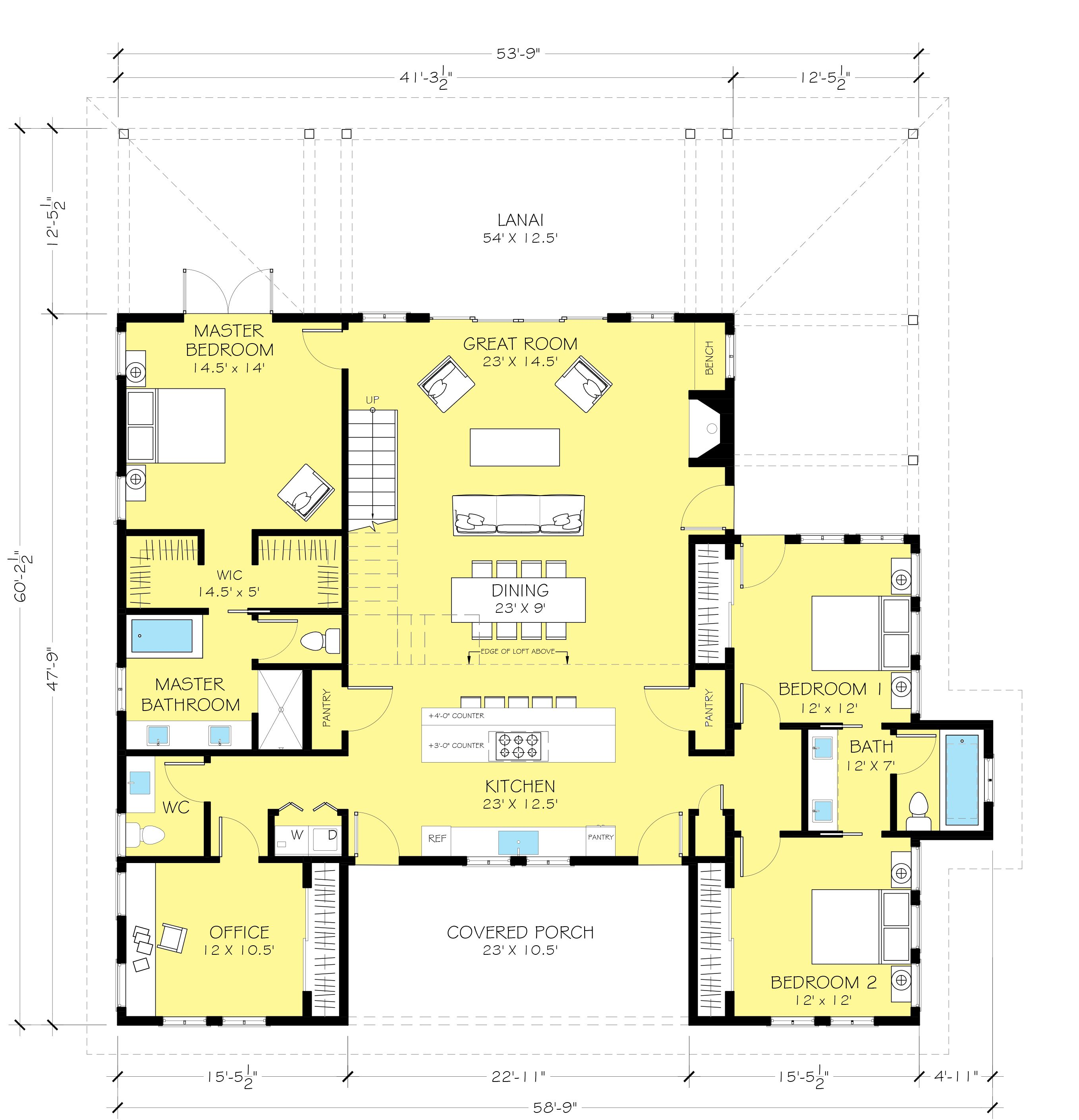 Barn house plan with stair to loft by architect nicholas for Barndominium plans with loft