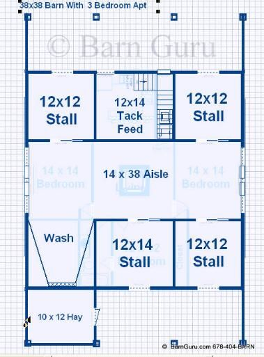 compare - Barn Plans With Living Quarters -4-5 Stalls - 3 Bedrooms