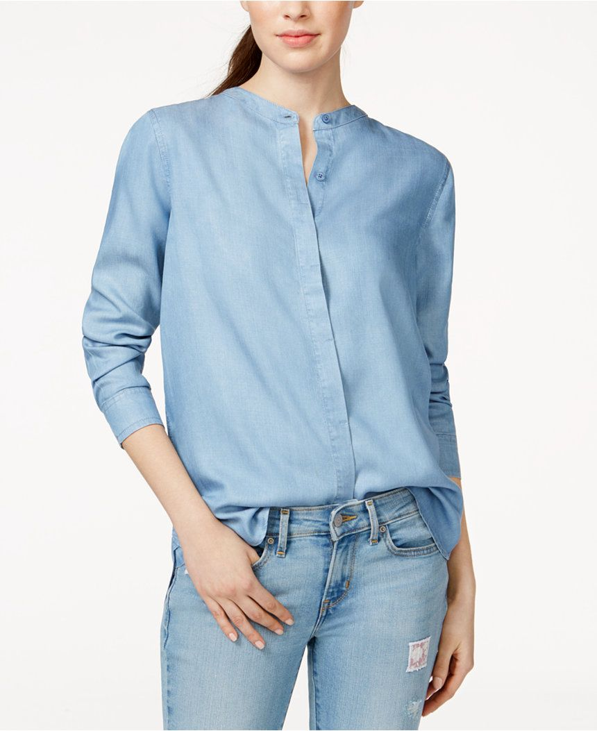 1f01be45bd4 Levi s  Mandarin-Collar Boyfriend Shirt - Tops - Women - Macy s ...