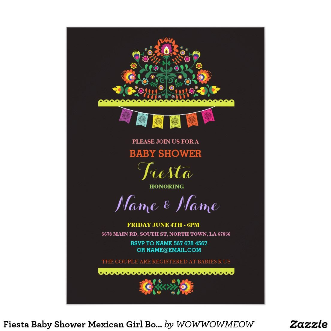 Fiesta Baby Shower Mexican Girl Boy Floral Invite | Mom and Kids ...
