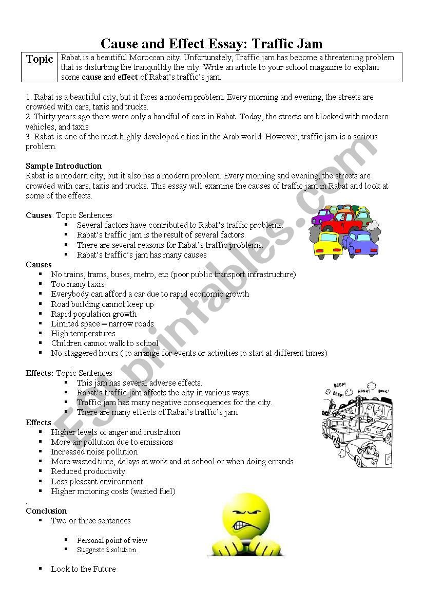 Sample Essay Outline For Cause And Effect Of Traffic Jam Writing Skills Smoking