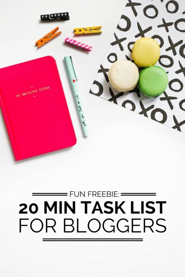 Free printable Blogging + Business tasks you can do in 20 minutes or less list!   blogging tips