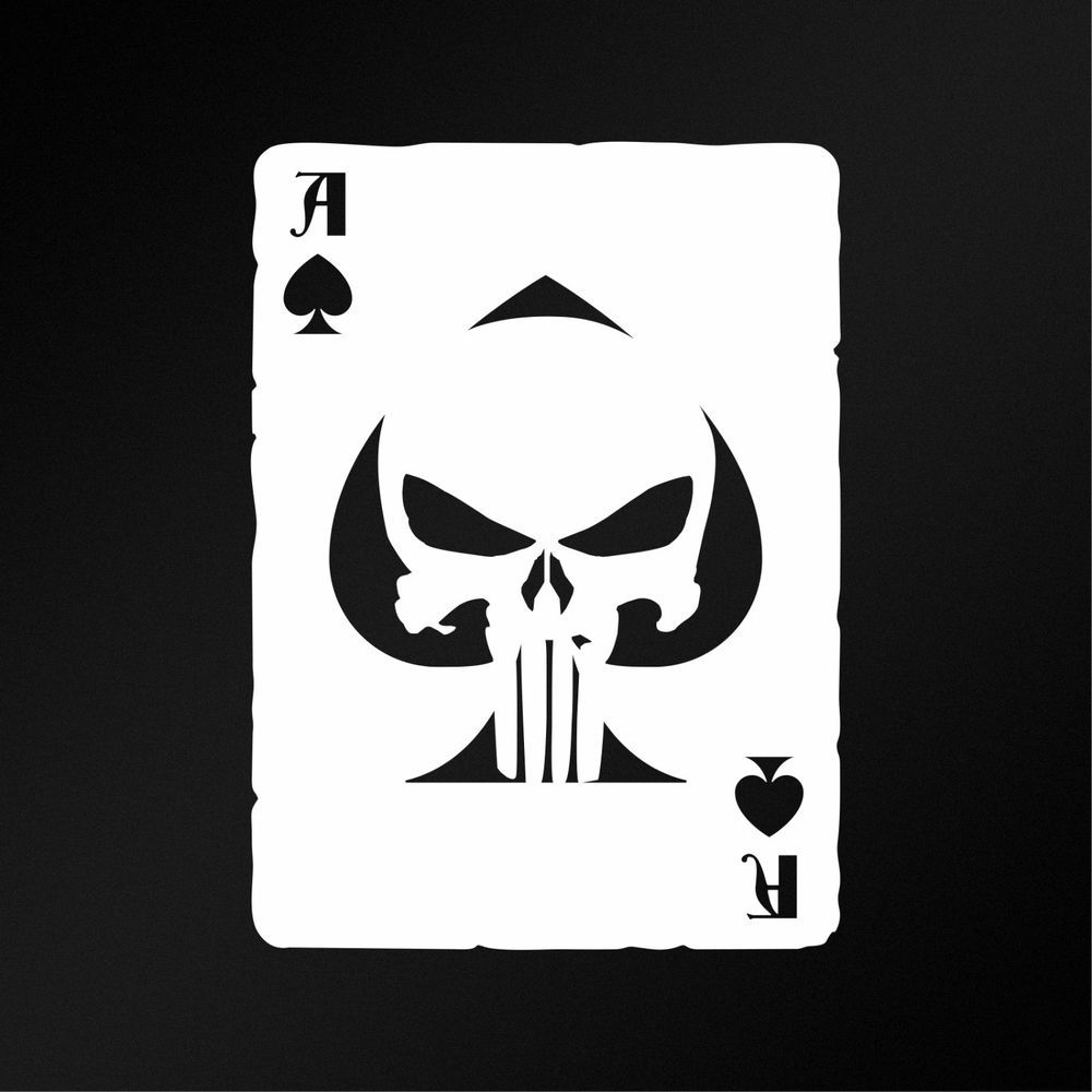 Ace Of Spades Old Playing Card Punisher Skull Jdm Car Laptop Vinyl