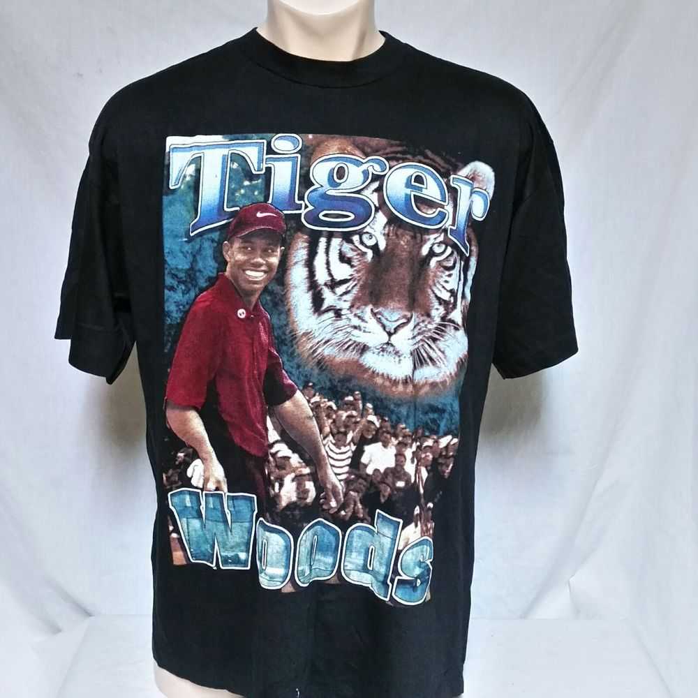 74a601ef4 VTG Tiger Woods T Shirt Rap Tee 90s Double Sided Original Golf Hip ...