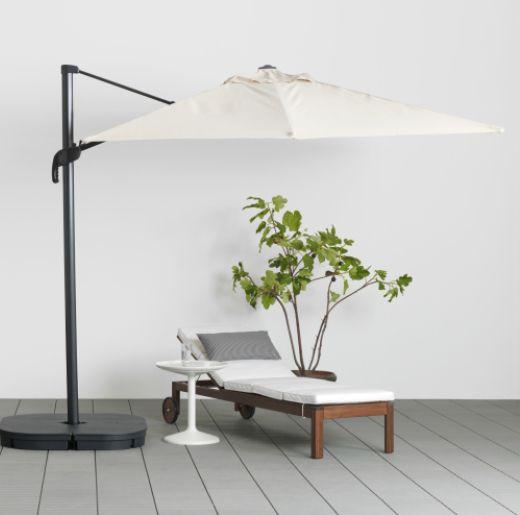 IKEA SEGLARO hanging outdoor umbrella and SVARTO base ...