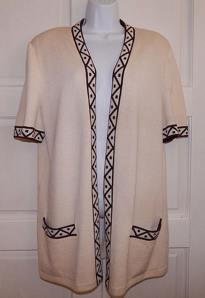 St John cardigan open front tunic short sleeves santana multi ...