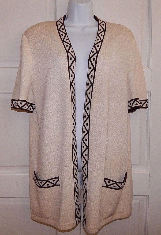 St John cardigan open front tunic short sleeves santana multi ...