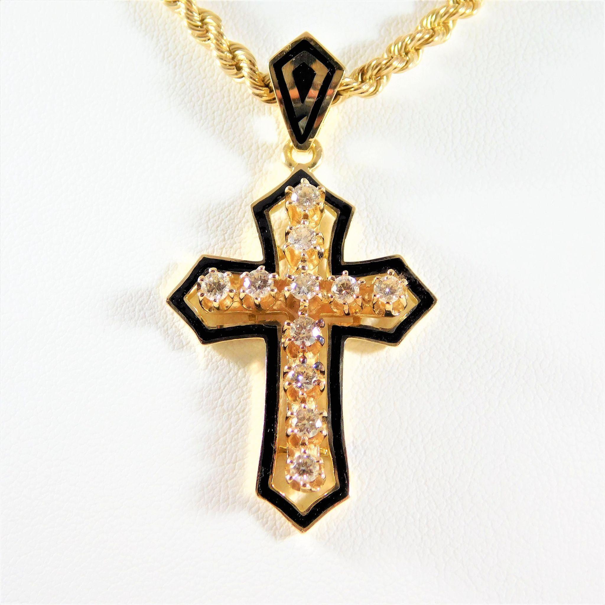 Vintage 14k gold black enamel and diamond gothic cross pendant vintage 14k gold black enamel and diamond gothic cross pendant audiocablefo