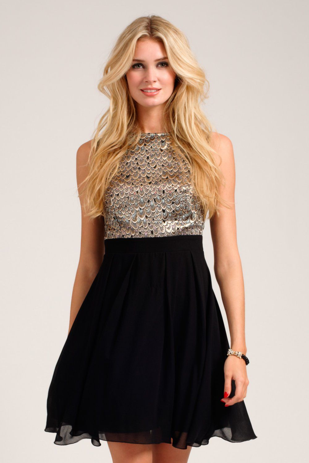 Black metallic scale print fit and flare dress website