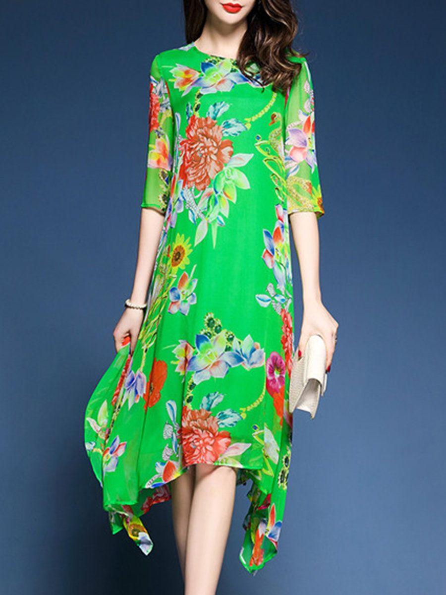 Asymmetric crew neck shift casual floralprint midi dress mini