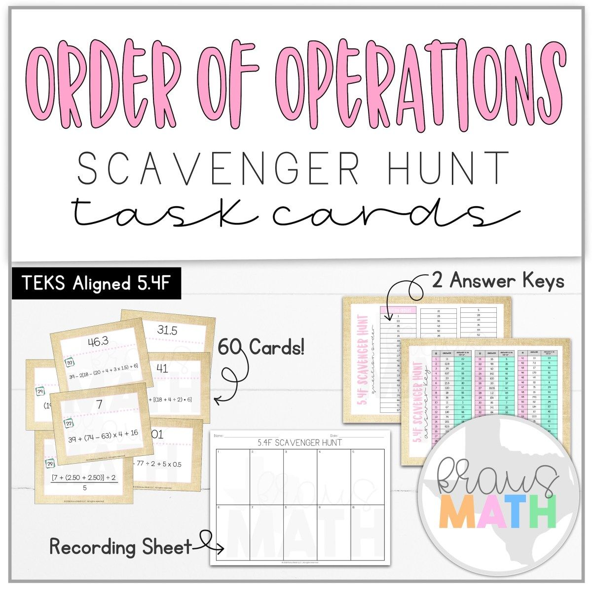 Order Of Operations Scavenger Hunt Task Cards Teks 5 4f