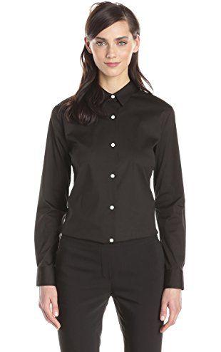 eeebc8d72d3 Theory Women's Tenia Luxe Cotton Button Down Shirt, Black, X-Large ❤ Theory  womens child code