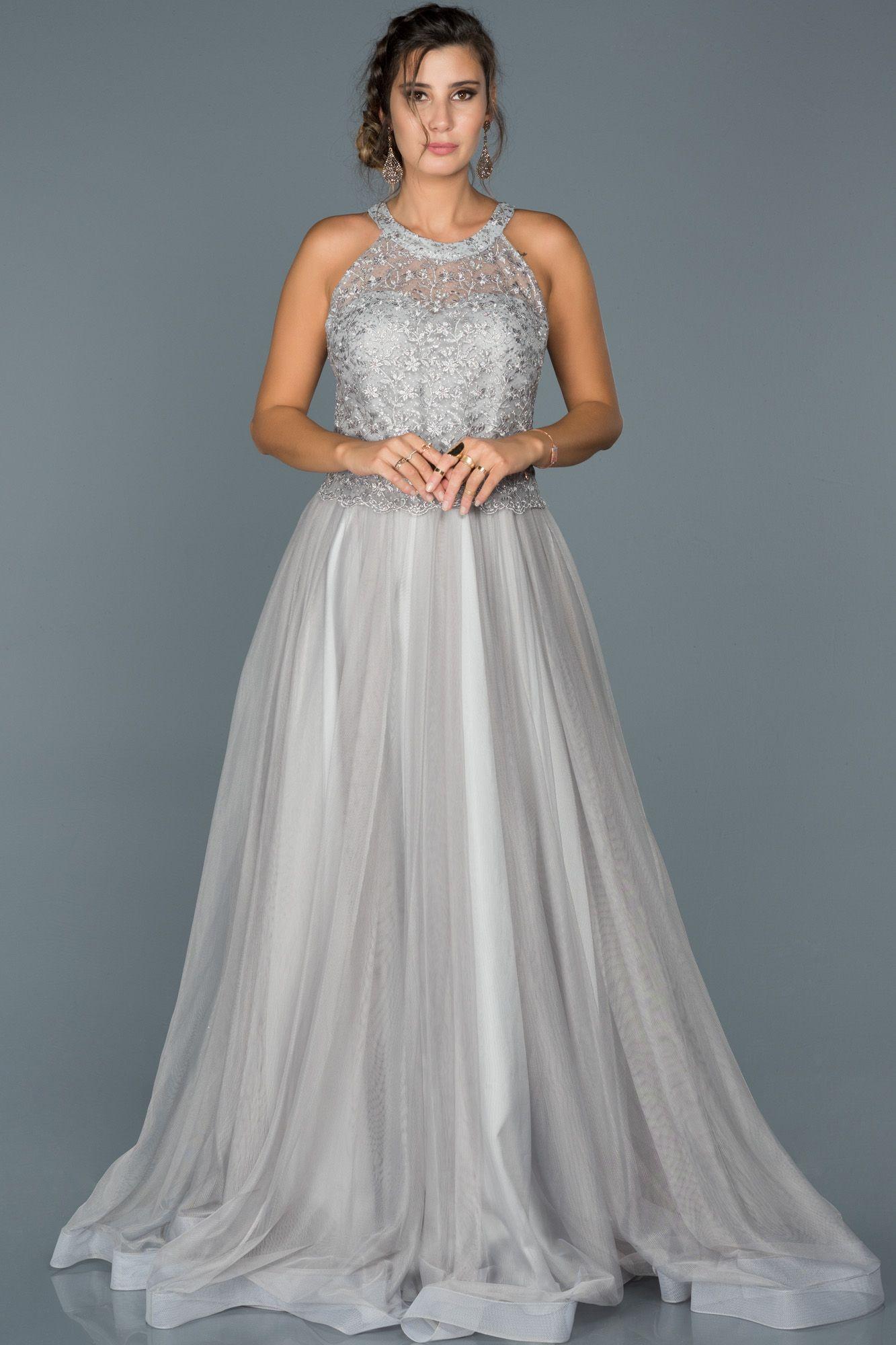 Gri Gupurlu Prenses Abiye Abu430 Resmi Elbise The Dress Elbise