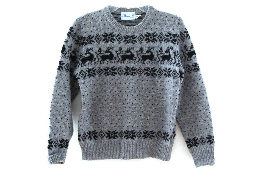 Vintage 80s sweater reindeer preppy birds eye pattern