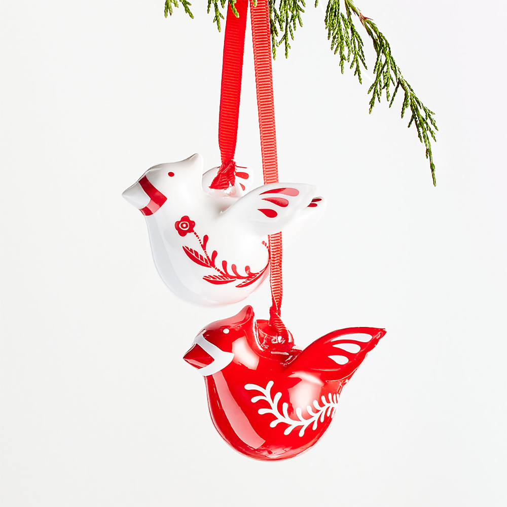 Nordic Bird Duo Christmas Tree Ornament Crate And Barrel Canada In 2020 Bird Christmas Ornaments Swedish Christmas Decorations Christmas Tree Ornaments