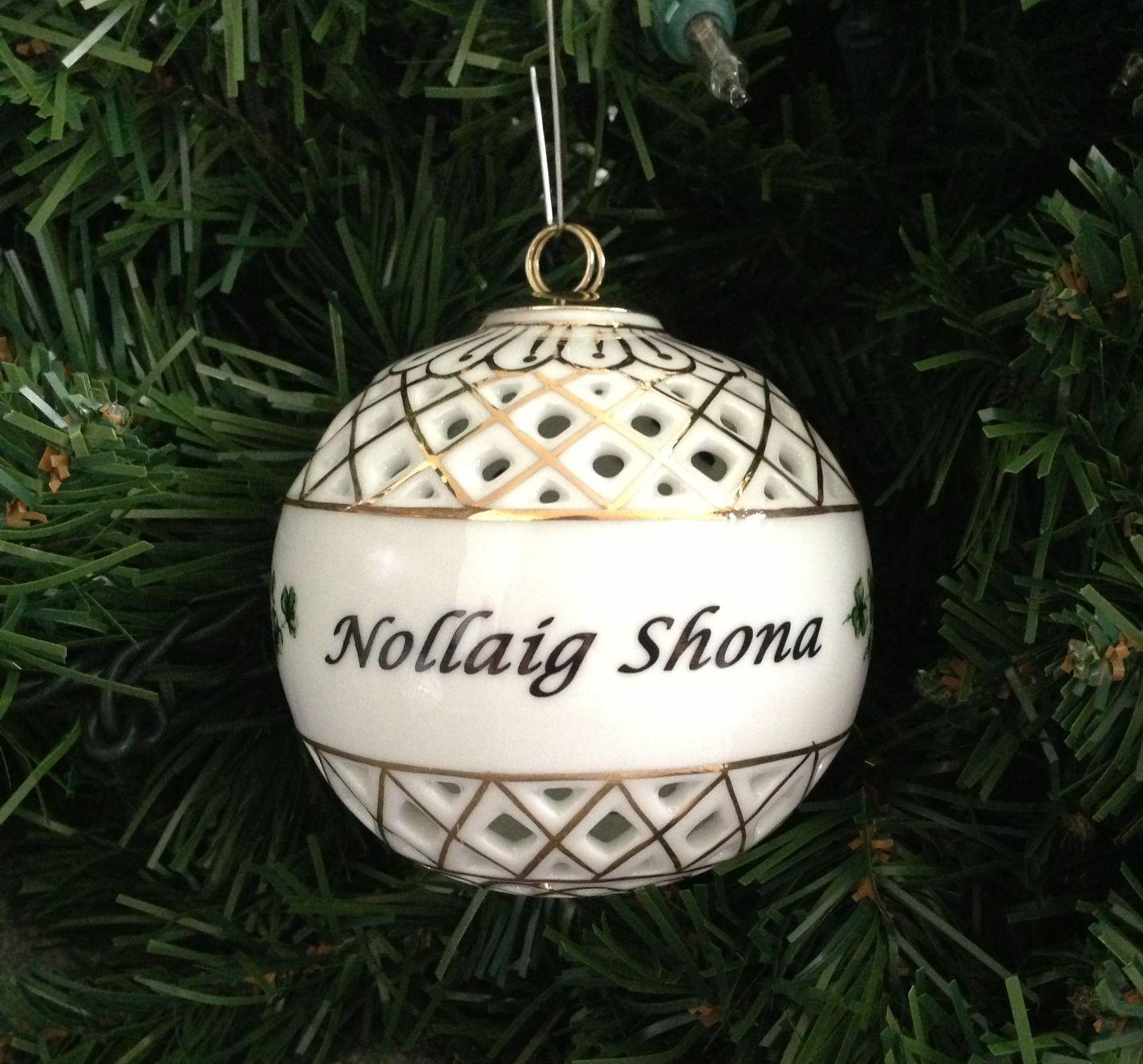 Irish Christmas Ornament Nollaig Shona Ball Ornament Irish Christmas Christmas Ornaments Irish Christmas Gifts