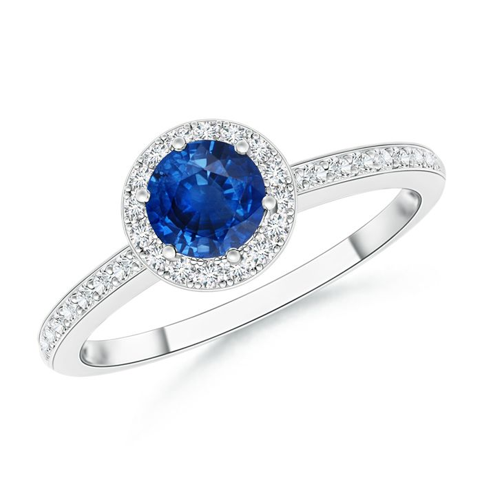 Angara Six-Prong Sapphire and Diamond Halo Engagement Ring in 14k Yellow Gold