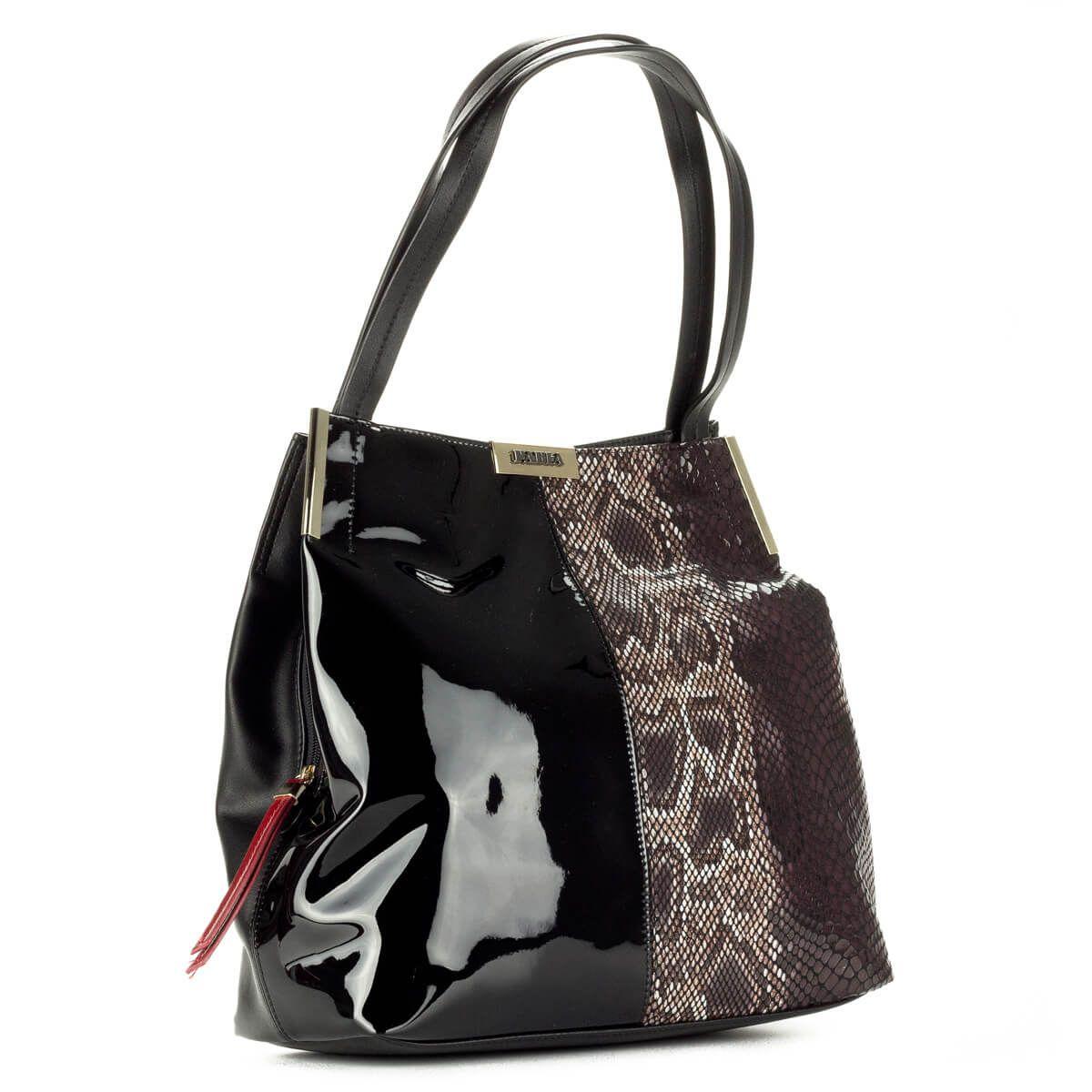 Pabia fekete + kígyómintás női táska nagy belső térrel. A nagy belsőn kívül  két kis rejtett rekeszt tartalmaz. – ChiX Női Cipő és Táska Webáruház  bags    ... beb9a90ca3