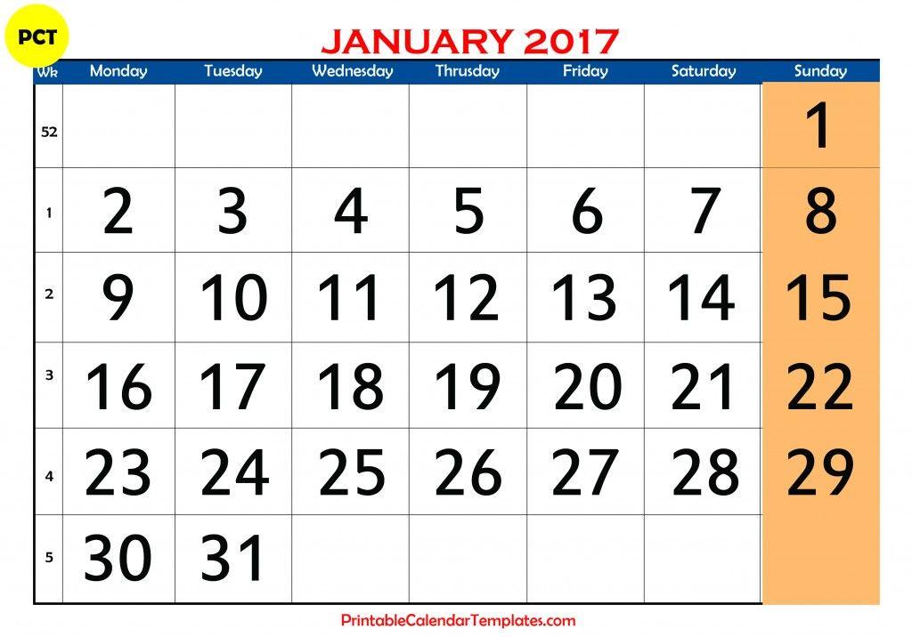 January 2017 Calendar January Calendar 2017 January 2017