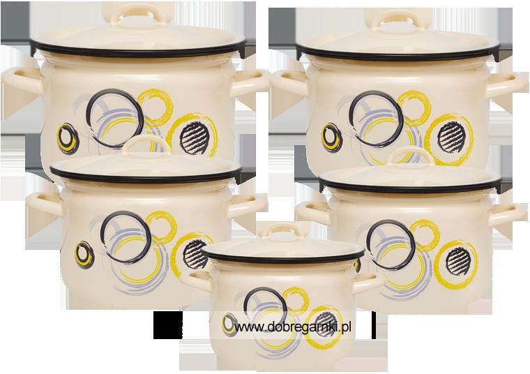 Komplet Famos -klasyczne naczynia kremowe z wzorem kółka.