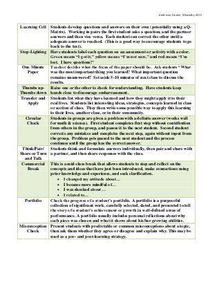 Informal Formative Assessment Strategies Formative Assessment - formative assessment strategies