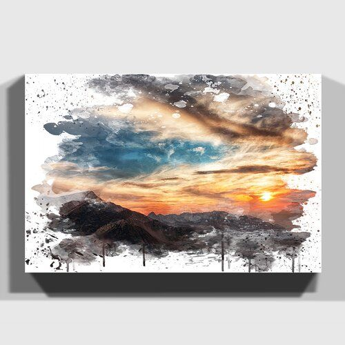 Wandbild Berglandschaft bei Sonnenuntergang Utah USA East Urban Home Größe: 35 cm H x 50 cm B, Format: Leinwand umschließt Rahmen #utahusa