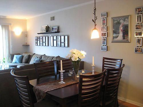 i love the picture frame layout in both the living room ...