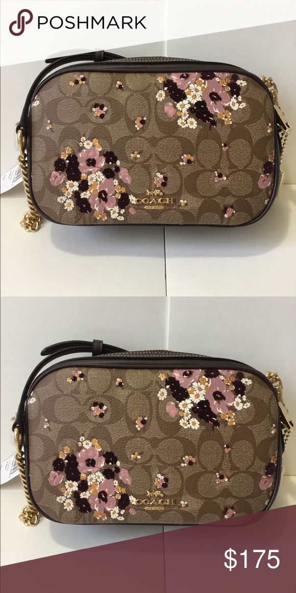f08f7c728439 🌷COACH Isla Chain Crossbody With Floral Flocking ✅ The bag is brand new  and original