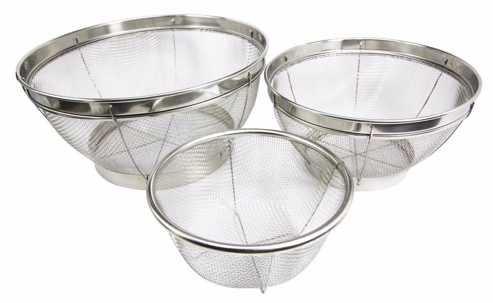 Set of Three Stainless Steel Wire Mesh Food Strainer Colander For ...