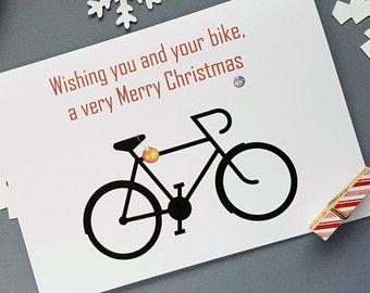 Bicycle Christmas Card Bike Christmas Card Christmas Bicycle Cycling Christmas Card Bicycle Greeting Homemade Christmas Cards Bicycle Holiday Holiday Cards