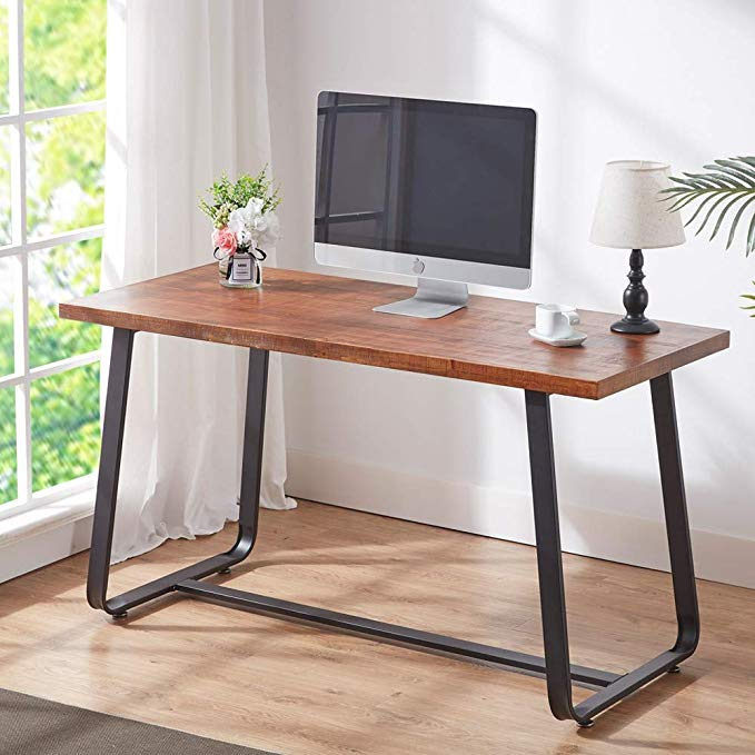 Hsh Solid Wood Computer Desk Rustic Vintage Metal Writing Desk Industrial Soho Study Table In 2020 Wood Computer Desk Metal Writing Desk Industrial Office Table