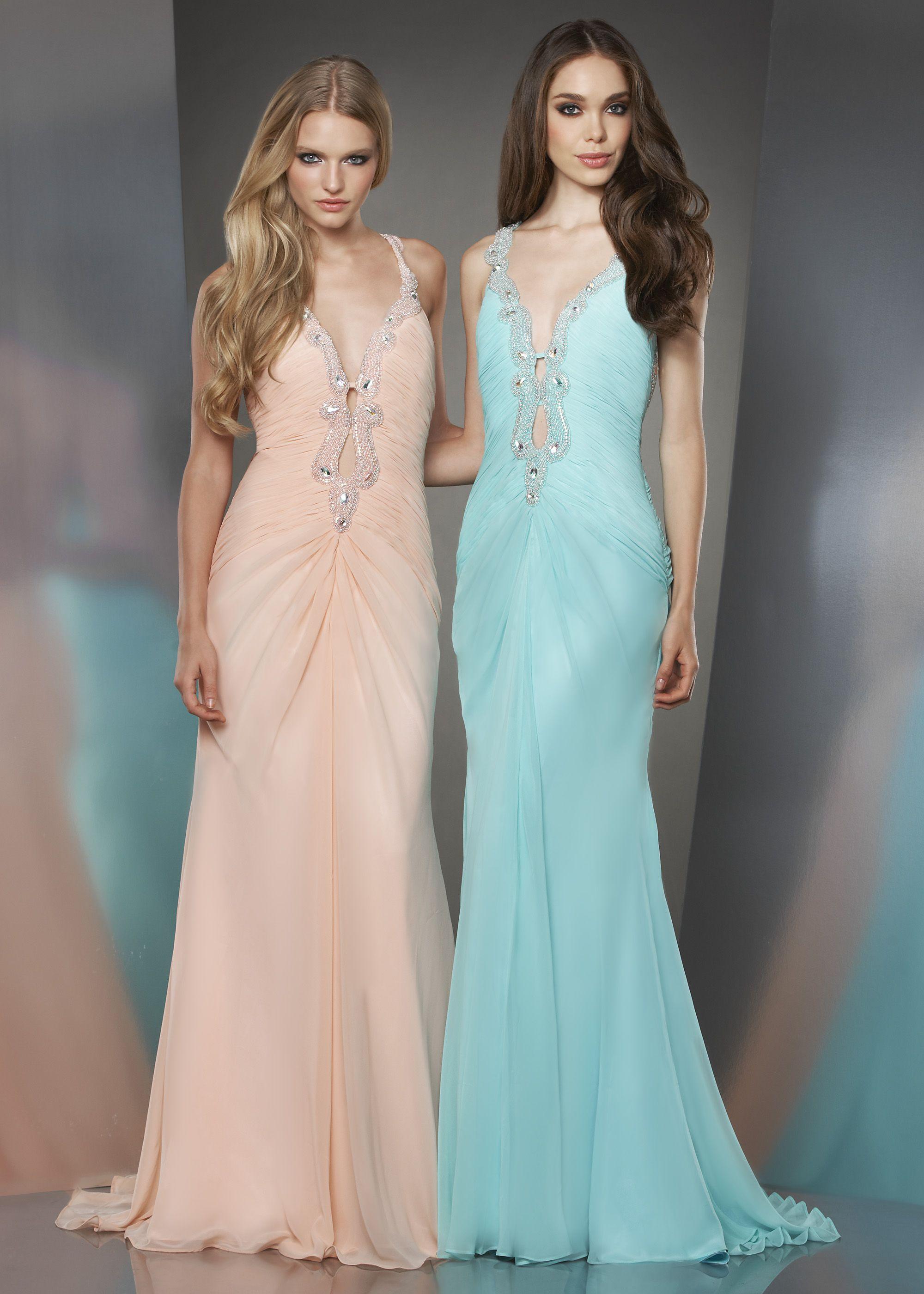 Shimmer by Bari Jay 59803 - Peach, Mint Shirred Chiffon Prom Dresses ...
