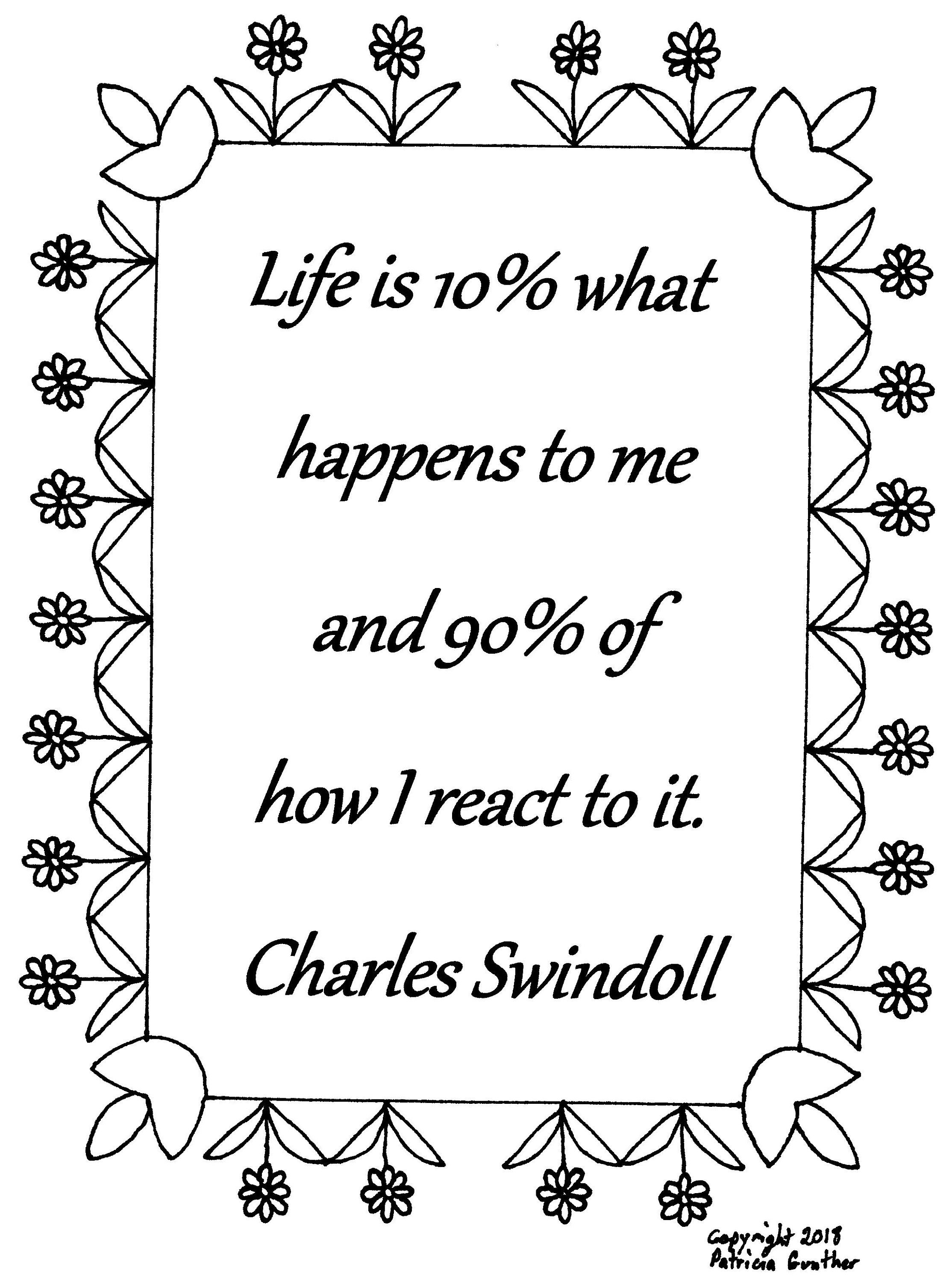 Life Is 10 What Happens To Me Charles Swindoll Quote Coloring