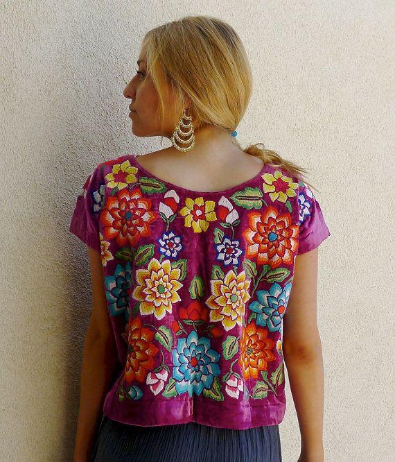 Mexican embroidered VINTAGE Tehuana huipil Dark Rose Velvet blouse ...