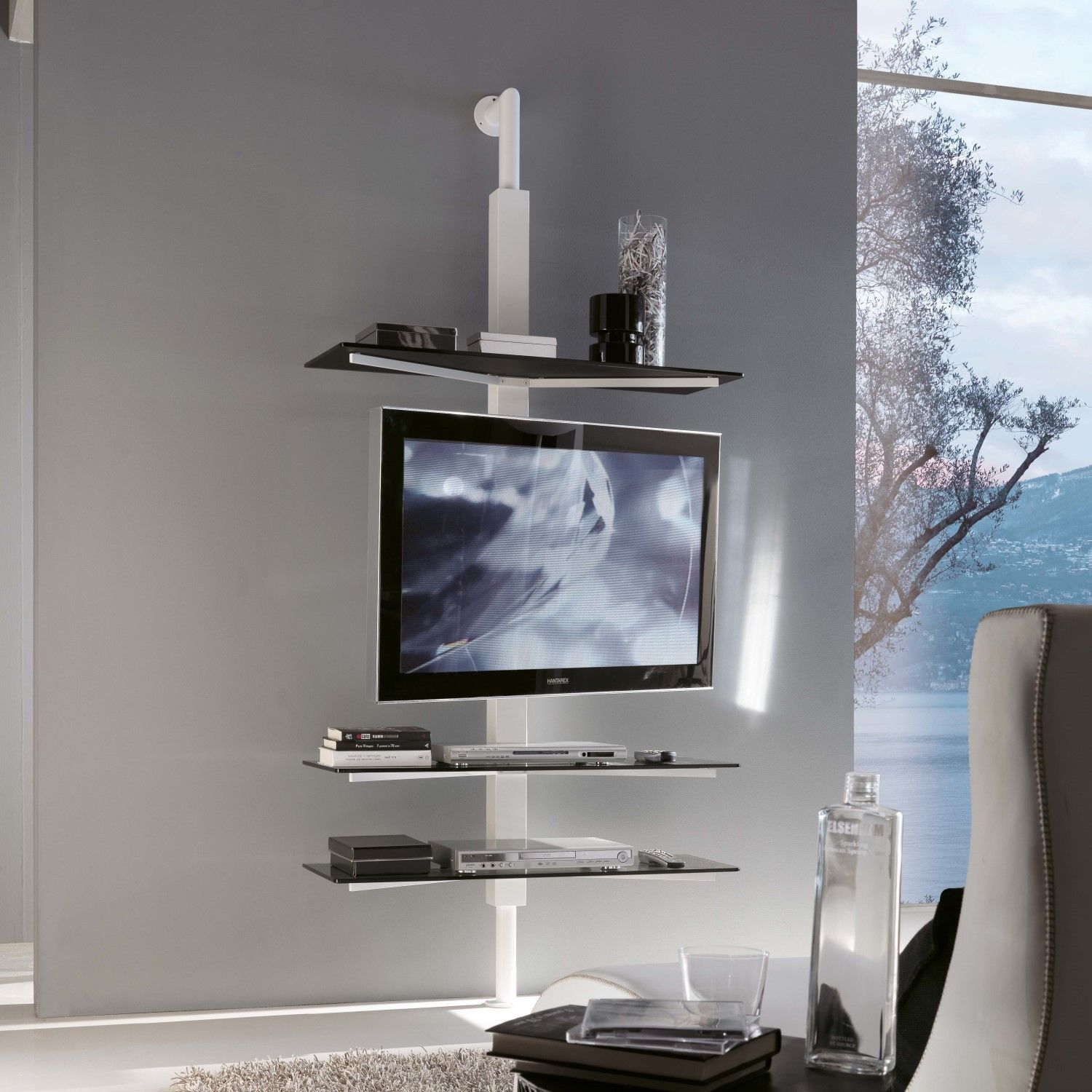 Kino Swivel Tv Stand With Glass Shelves Arredaclick Porta Tv  # Meuble Tv Gisan