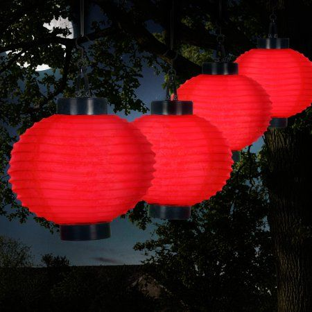 Outdoor Solar Chinese Lanterns Led Set Of 4 By Pure Garden Red