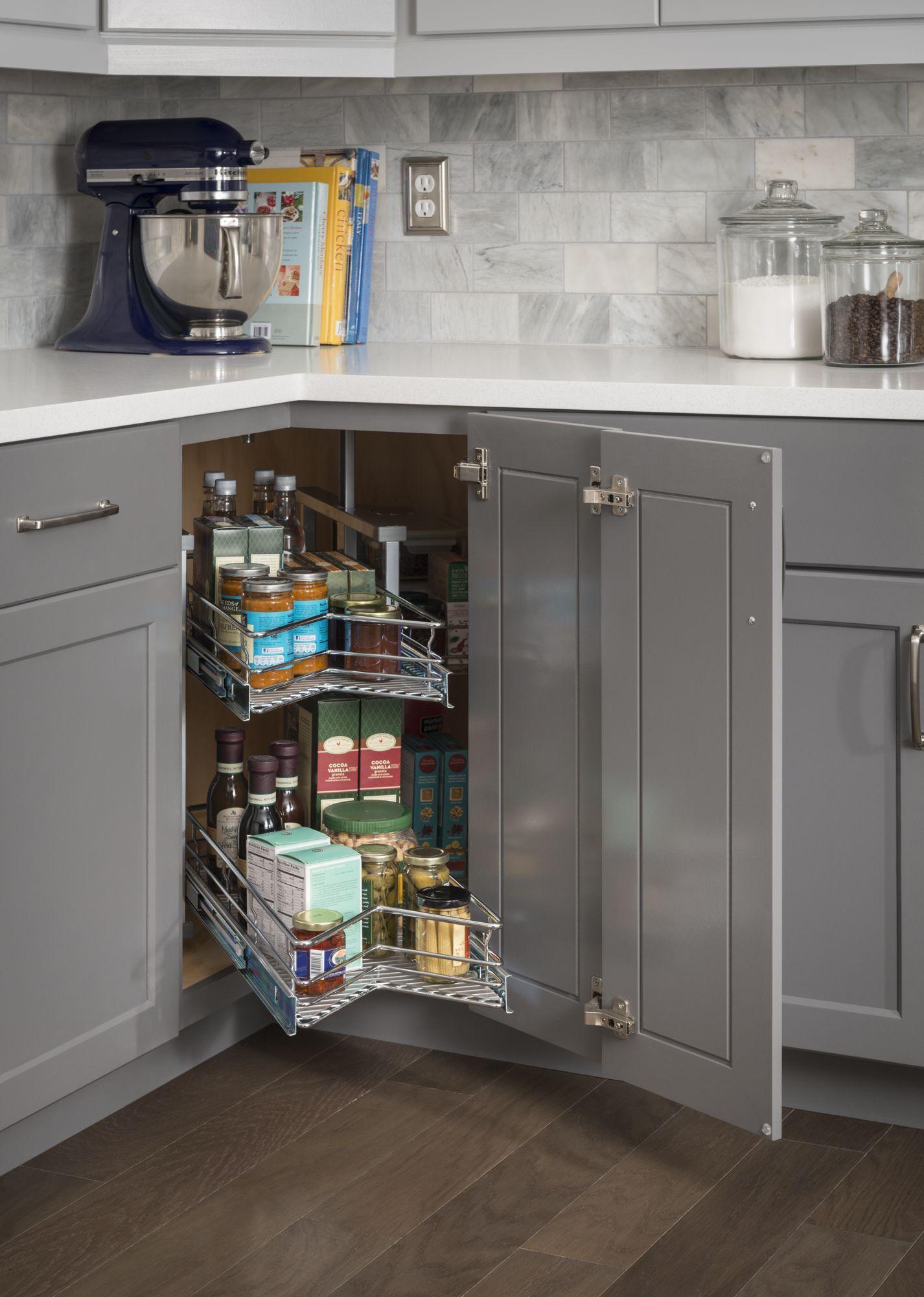 30 Diameter Easy 360 Susan Chrome Wire Corner Management System Rotates 360 Degrees Left Cabinets Organization Kitchen Cabinet Styles Corner Storage Cabinet