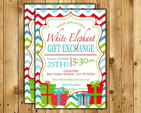 17 Best images about Gabi Party – White Elephant Christmas Party Invitations