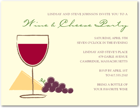 great bridal shower invitation for wine and cheese tasting theme party