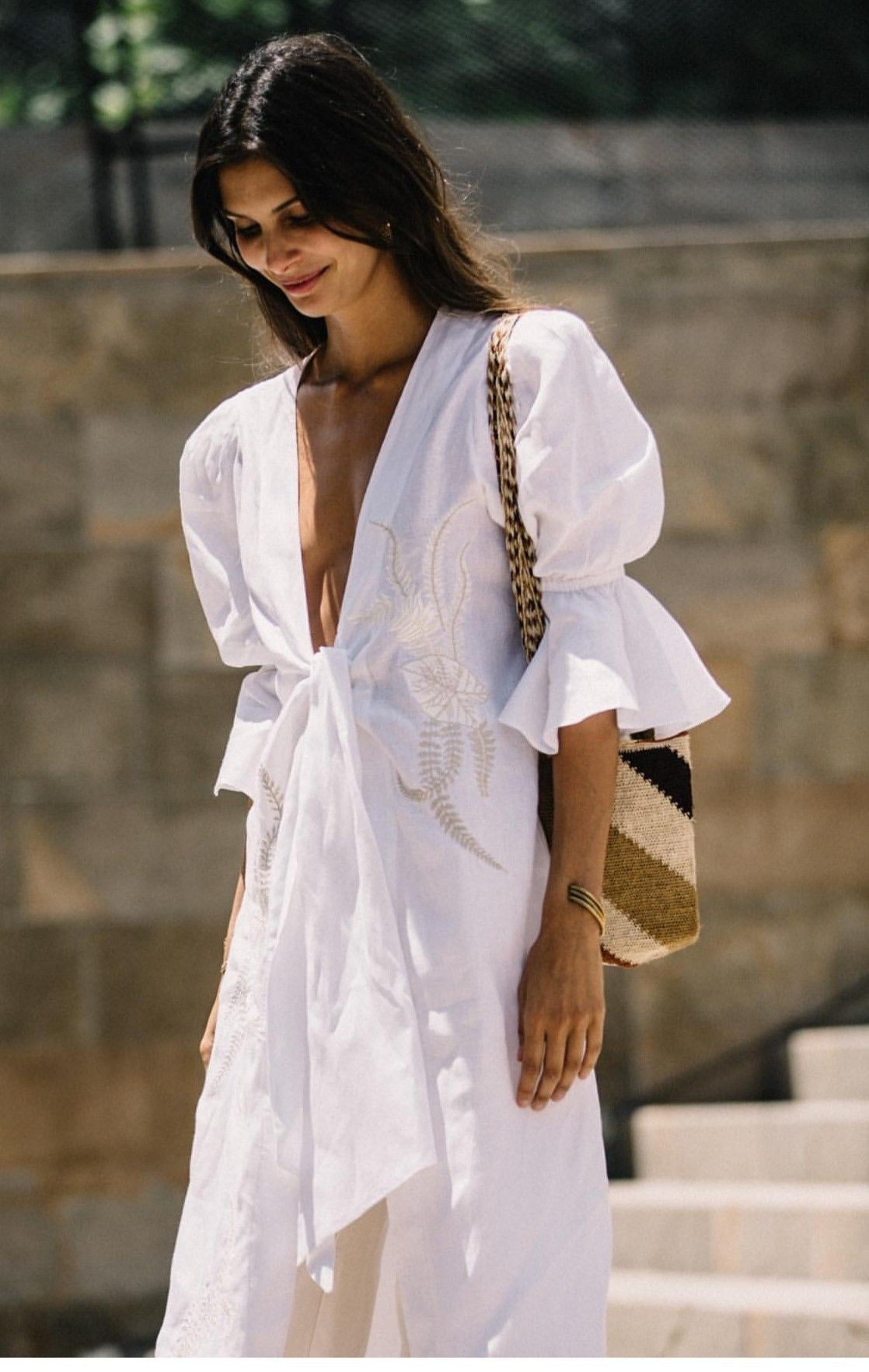 Trendy And Cute Puff Sleeved White Summer Dress Fashion Summer Chic Outfit Fashion Week [ 1766 x 1118 Pixel ]