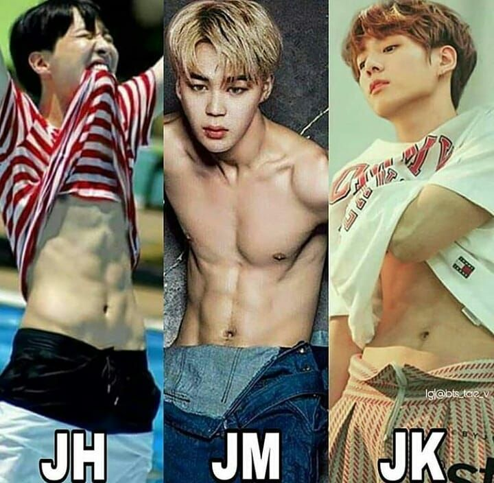 "BTS👑방탄소년단👑 on Instagram: ""Who's abs you like more??😻😻❤ Ma boys💕💕😚😙😉 ° ° ° ° #bts #jimin #jin #suga #jhope #rapmonster #v #bangtanboys #goldenmaknaebts #taehyung…"""
