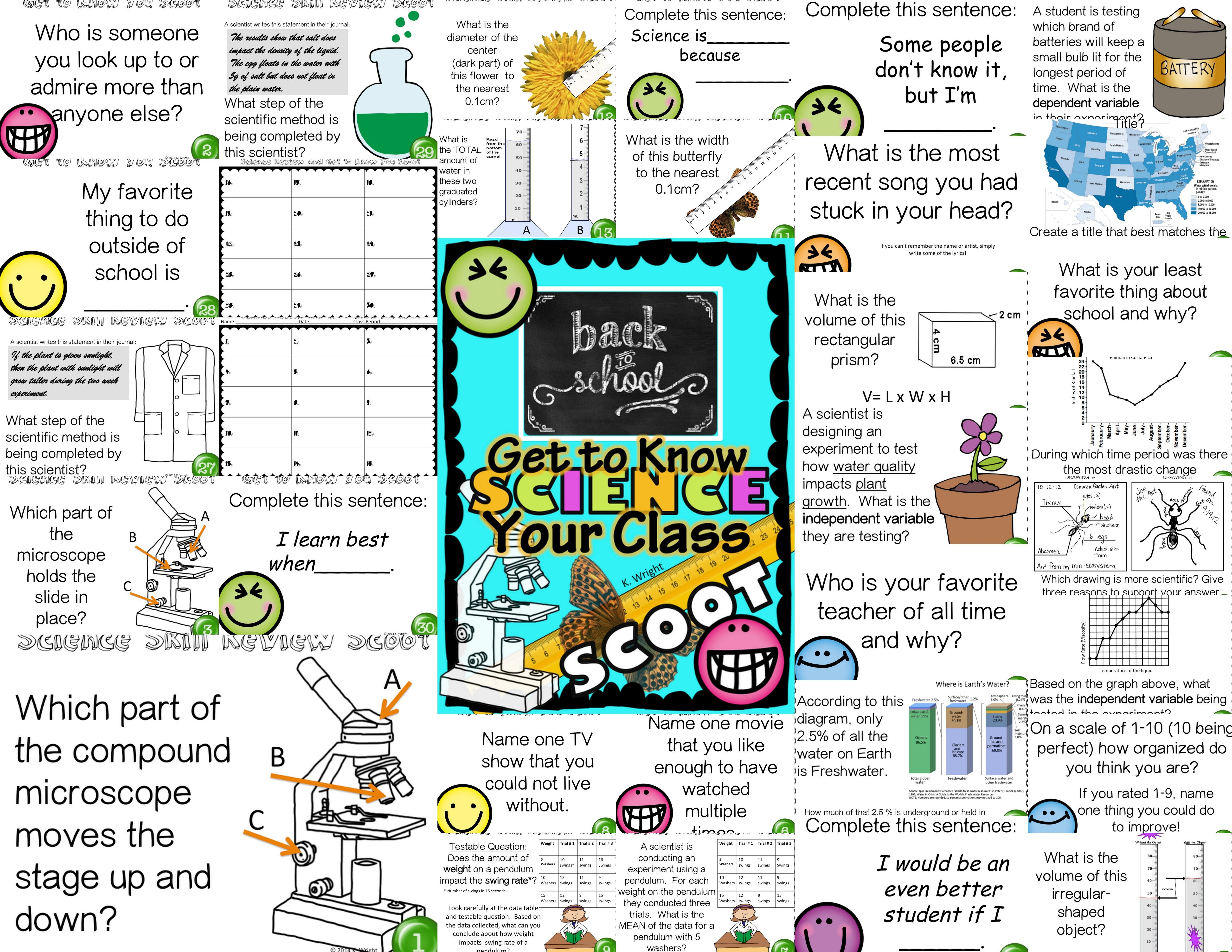 Back To School Science Scoot Get To Know Your Class