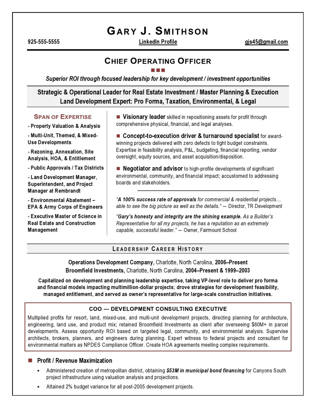Coo Resume Sample Page 1 Resume Examples Executive Resume Resume Writing