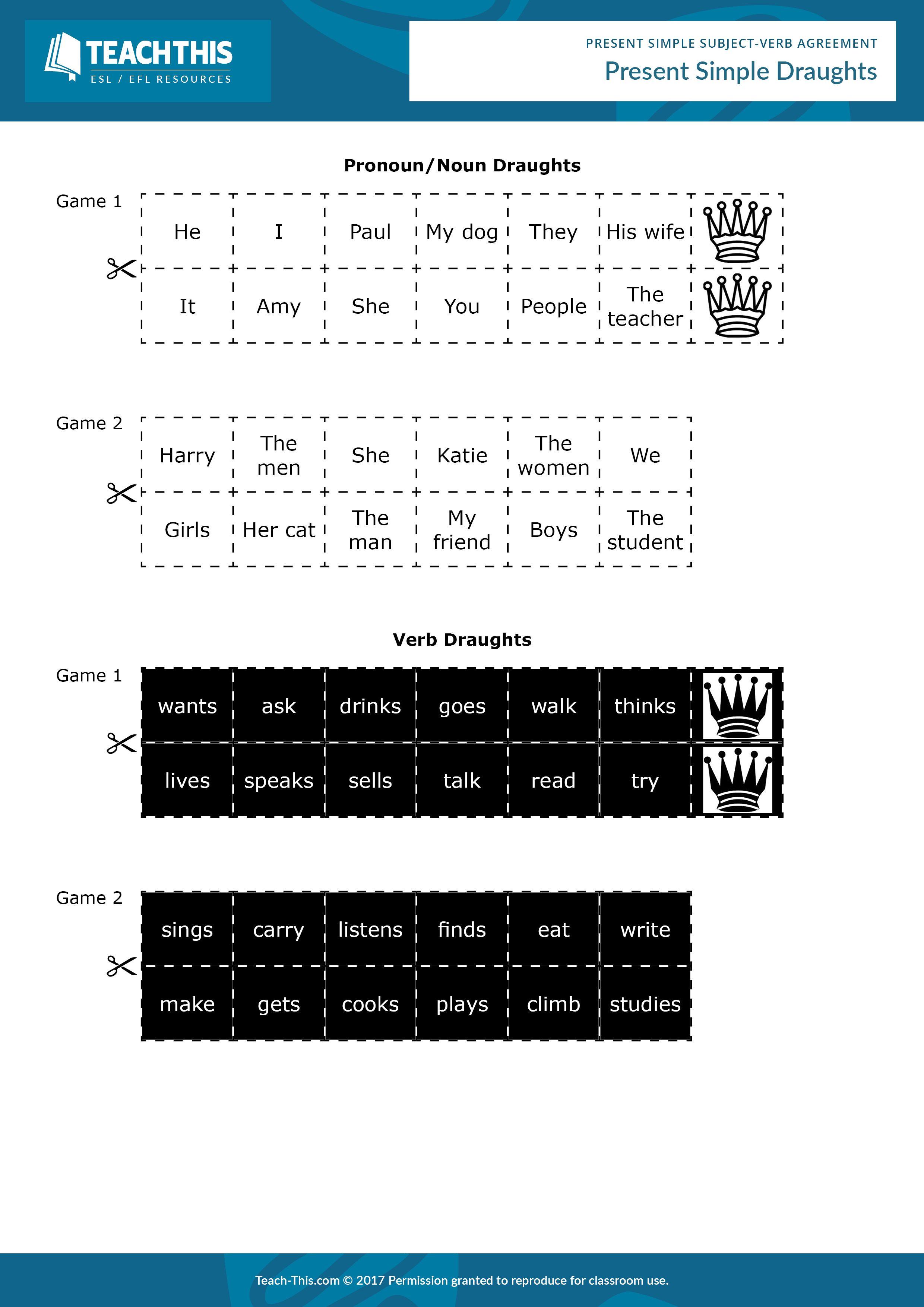 worksheet Subject Verb Agreement Esl Worksheet present simple subject verb agreement agreement