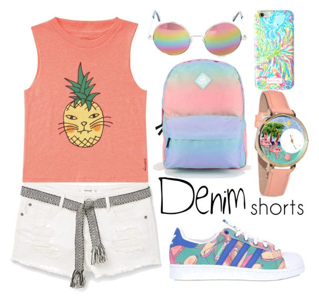 """""""Denim Shorts Cut Offs"""" by andreajabueg on Polyvore featuring Vans, MANGO, Billabong, adidas Originals, Whimsical Watches, Lilly Pulitzer, Cutler and Gross, jeanshorts, denimshorts and cutoffs"""