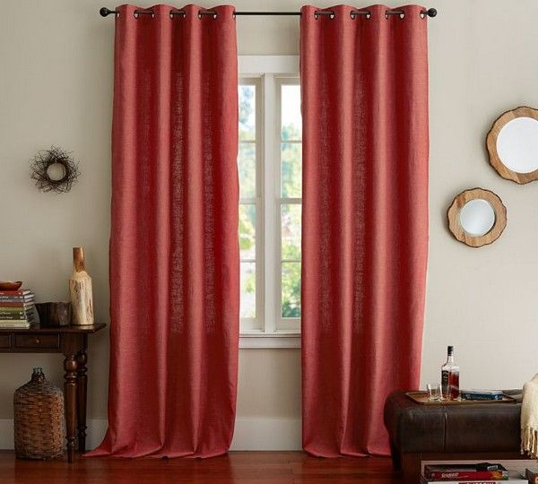 Wohnzimmer rote Vorhänge Deko Ideen Bilder cool Pinterest