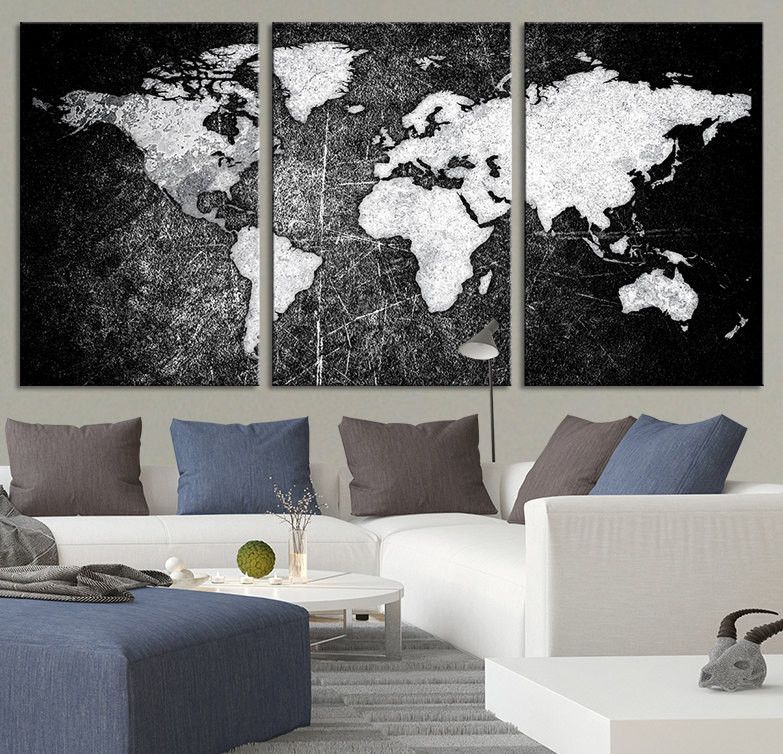 Modern World Map Canvas. Metalic Black Backgrounded White Modern World Map Canvas Print  Contemporary 3 Panel Triptych and